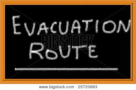 Evacuation Route written on chalkboard poster