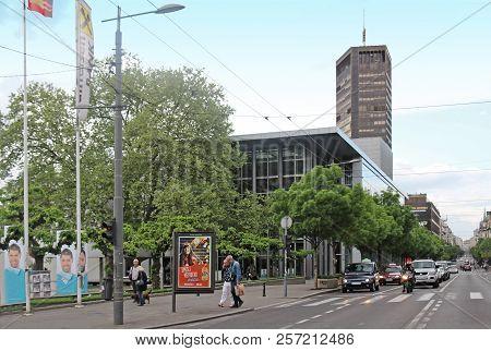 Belgrade, Serbia - April 28, 2015: Large Central Belgrade Street Kralja Milana With Tall Skyscraper