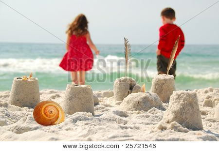 Young children playing at seashore