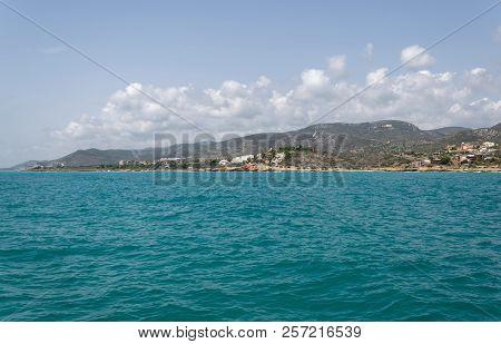 Blue Water Landscape. Beach In Malaga. Spain.
