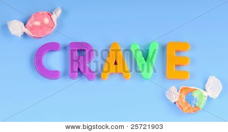 Magnetic children's letters spelling crave by candy