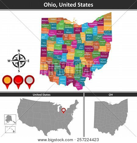 Vector Map Ohio Vector & Photo (Free Trial) | Bigstock