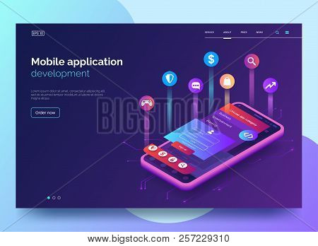 Mobile App Development Vector Illustration. Isometric Mobile Phone With Layout Of Application. User