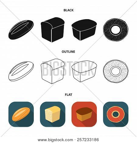 Loaf Cut, Bagel, Rectangular Dark, Half A Loaf. Bread Set Collection Icons In Cartoon Style Vector S