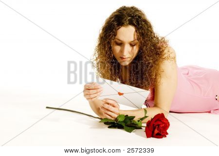 Lovely Young Girl With Loveletter