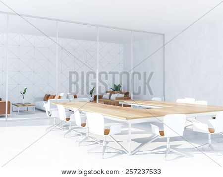 White Triangular Tiled Boardroom Interior With Panoramic Window, A White Floor And A Wooden Table Wi