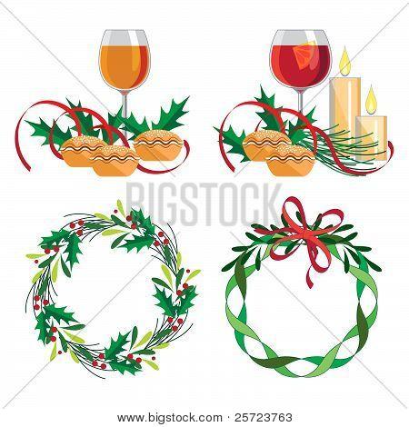 Christmas wine, mince pie and wreath set