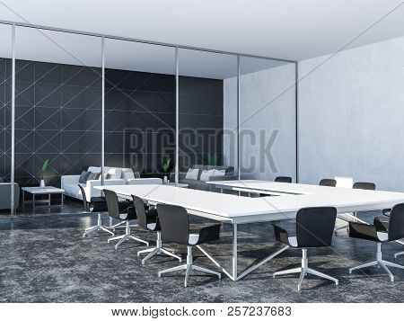 Black Triangular Tiled Boardroom Interior With Panoramic Window, A Gray Floor And A White Table With