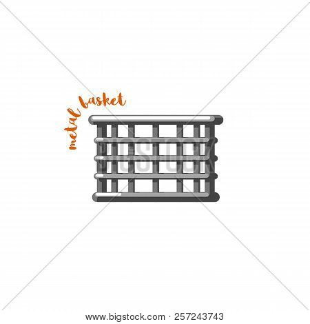 Urban Family Bike Metal Basket. Bicycle Accessory Flat Vector. Urban Bicycle Basket, Leasure And Spo