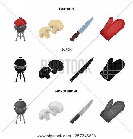 Barbeque Grill, Champignons, Knife, Barbecue Mitten.bbq Set Collection Icons In Cartoon, Black, Mono