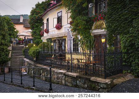 Banska Stiavnica, Slovakia - July 22, 2018: Restaurant In The Old Town Of Banska Stiavnica In Centra