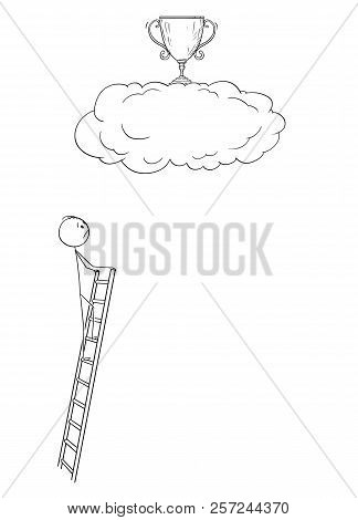 Cartoon Stick Drawing Conceptual Illustration Of Man Or Businessman Who Is Trying To Achieve The Tro