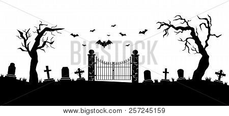 Panorama of cemetery or graveyard. Silhouettes of gravestones, fence, trees etc isolated on white background. Black and white vector illustration for Halloween poster