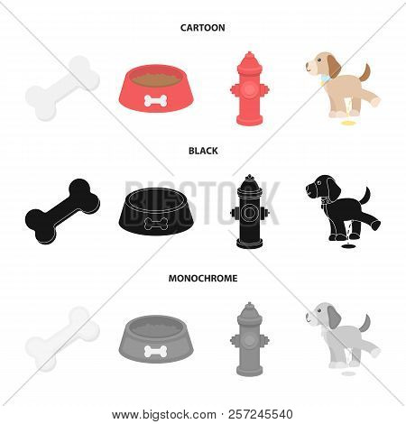 A Bone, A Fire Hydrant, A Bowl Of Food, A Pissing Dog.dog Set Collection Icons In Cartoon, Black, Mo