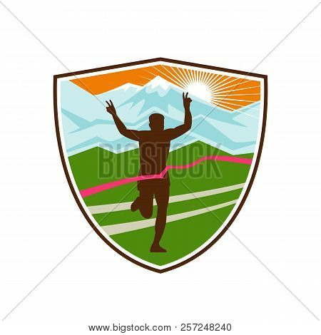 Retro Style Illustration Of A Silhouette Of Victorious Marathon Runner Flashing Victory Hand Sign Wi