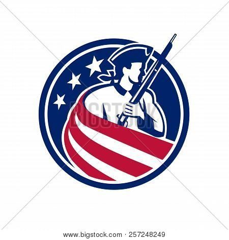 Mascot Icon Illustration Of An American Patriot, Minuteman, Revolutionary Soldier With Musket Rifle