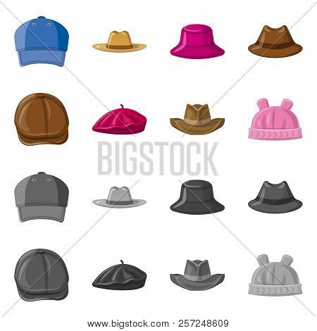 Vector Design Of Headwear And Cap Icon. Set Of Headwear And Accessory Stock Vector Illustration.