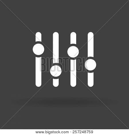 Adjustment Music Icon. Volume Panel Sign. Audio Mixer Adjusting Symbol. Sound Balance Illustration.