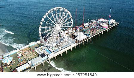 Atlantic City N.J/Sept. 7 2018: Ariel View of the Steel Pier in Atlantic City N.J.