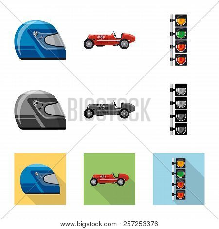 Vector Design Of Car And Rally Symbol. Collection Of Car And Race Vector Icon For Stock.