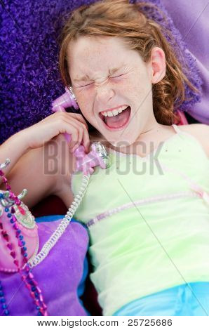 Girl hearing wonderful news on phone