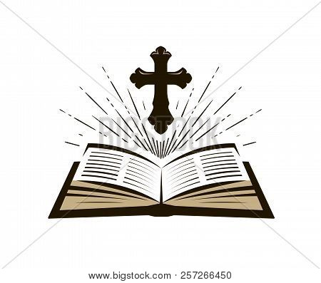 Holy Bible Symbol. Worship, Church, Psalm Icon. Vector Illustration