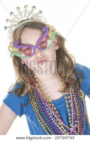 girl having fun for mardi gras