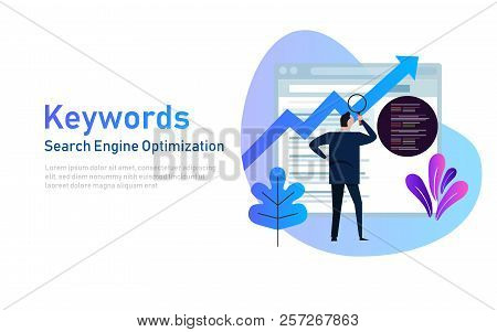 Keywording, Seo Keyword Research, Keywords Ranking Optimization On Search Engine. Vector Illustratio