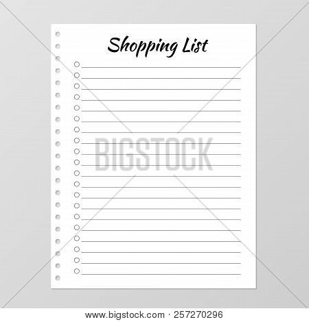 Shopping List Template. Planner Page. Lined And Numbered Paper Sheet. Blank White Notebook Page Isol