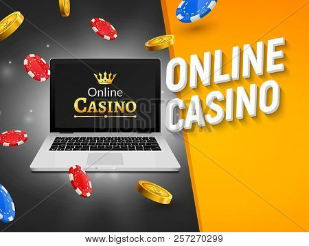 Online Casino Banner With Laptop Coins And Falling Chips. Roulette Luck Money Game. Online Poker Cas