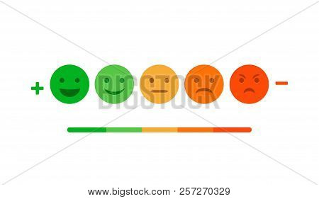 Rating Feedback Scale Isolated Emoticon Concept. Emotion Rating Feedback Opinion Positive Or Negativ
