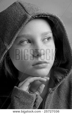 young girl looking far away