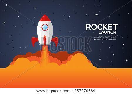 Rocket Launch Illustration. Product Business Launch Concept Design Ship Vector Technology Background
