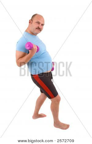 Overweight Man Doing Exercises