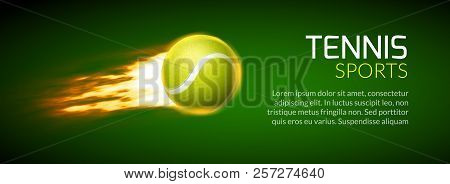 Tennis Championship Or Tournament Poster Background. Vector Tennis Competition Game Illustration,