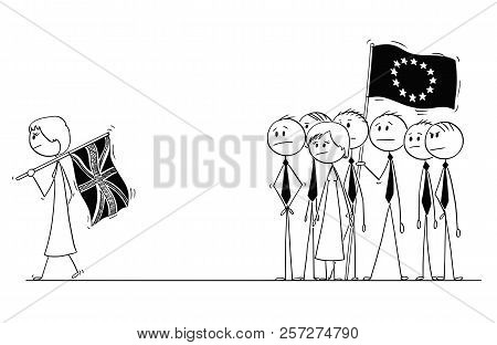 Cartoon Stick Drawing Conceptual Illustration Of Brexit, Britain Or United Kingdom Or Uk Is Leaving