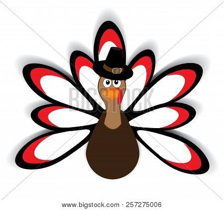 Vector Illustration Of Thanksgiving Turkey. Thanksgiving Day Background.
