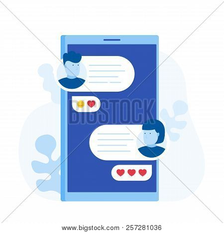 Chat Messages Notification On Smartphone, Man Person Chatting On Cellphone With Woman. Love Messagin