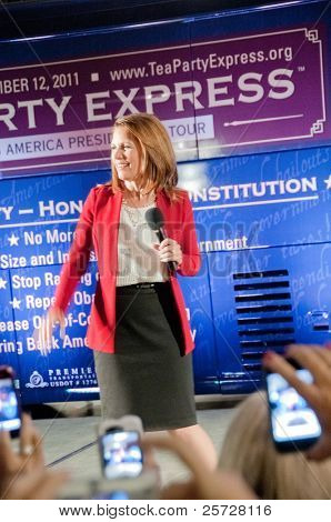 TAMPA - SEPTEMBER 12: Republican candidate Michele Bachmann addresses supporters after the CNN/Tea Party Express debate in Tampa, Florida on September 12, 2011.