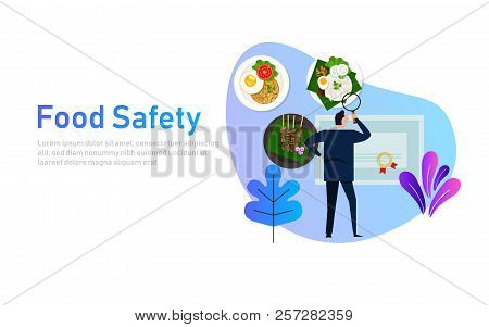 Food Safety Concept Of Standard Compliance. Man Looking At Food Certification Paper Document.