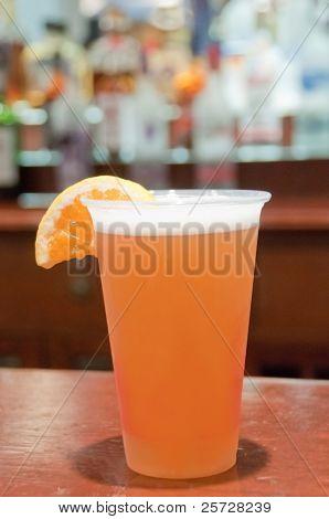 Microbrew beer with orange slice