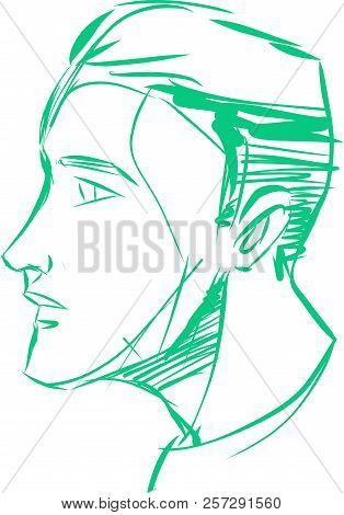 Hand Drawn Vector Ink Illustration Or Drawing Of A Human Face Facing Side