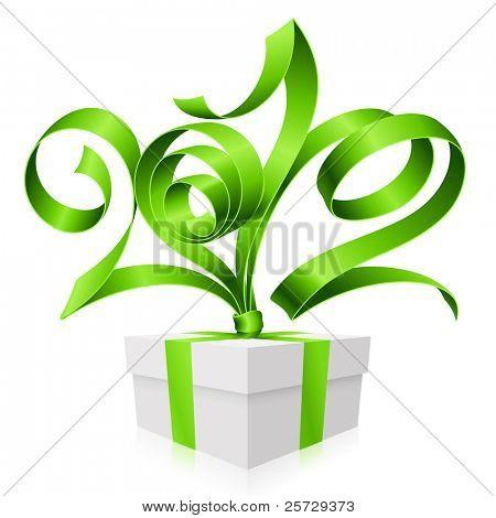Fundo de ano novo e Natal com fita de vetor verde na forma de 2012 e caixa de presente