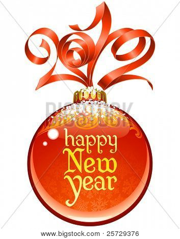 Christmas and New Year circle frame, vector red ribbon in the shape of 2012 and glass ball