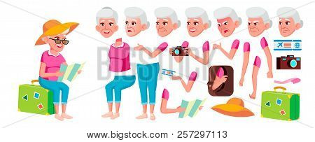 Old Woman Vector. Senior Person Portrait. Elderly People. Aged. Animation Creation Set. Face Emotion