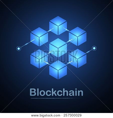 Blockchain Technology Fintech Cryptocurrency Block Chain Server Abstract Background. Linked Block Co