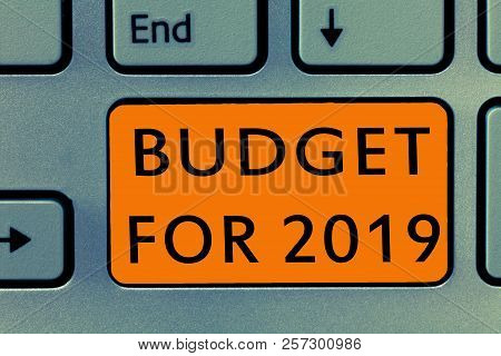 Conceptual hand writing showing Budget For 2019. Business photo text An written estimates of income and expenditure for 2019 poster