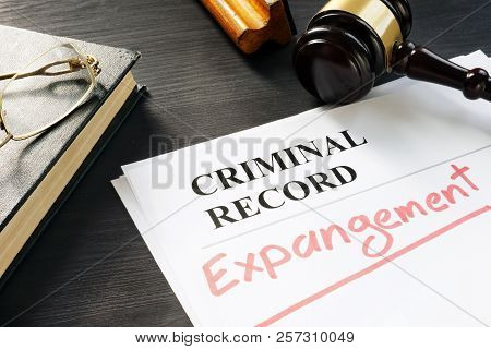 Expunge Of Criminal Record. Expungement Written On A Document.