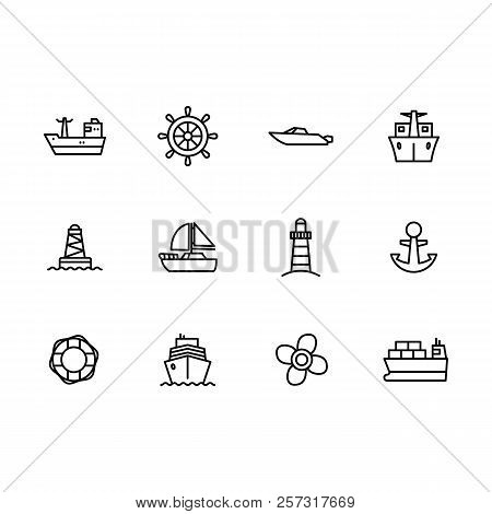 Vector Icon Set Sea Ship, Sailing Boat, Steering Wheel, Yacht, Sail, Lighthouse And Propeller. Outli