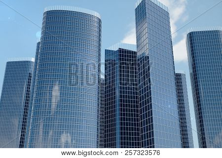 3d Illustration Low Angle View Of Skyscrapers. Skyscrapers At In Day Looking Up Perspective. Bottom
